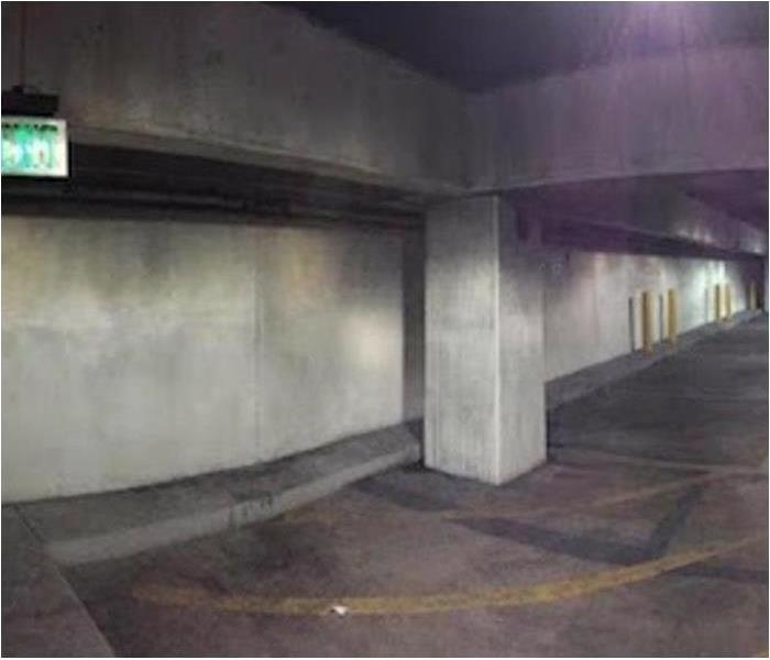 Parking Deck - Fire Soot and Smoke Cleanup Before